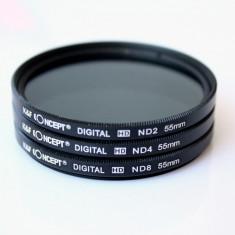 Set 3 filtre ND2 ND4 ND8 pe 55mm Kent Faith Concept + bonus laveta microfibra. - Filtru foto Kent Faith, 50-60 mm, Neutru
