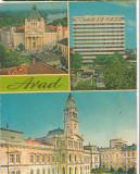 CPI (B6391) CARTE POSTALA - ARAD: PALATUL CULTURAL, HOTEL ASTORIA, CONSILIUL POP, Circulata, Fotografie