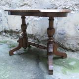 Masuta antica lemn masiv sculptata, furnir de nuc, sec XIX