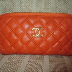 Portofel dama dublu portocaliu Chanel+CADOU, Culoare: Din imagine, Cu fermoar