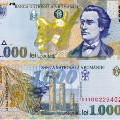 ROMANIA, 1000 LEI 1998, UNC_filigran oblic BNR_seria 001A8285148~001A8285152 - Bancnota romaneasca