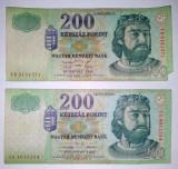 Lot 2 bancnote Ungaria 200 forint - circulate - 2001 / 1998