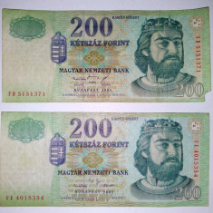 Lot 2 bancnote Ungaria 200 forint - circulate - 2001 / 1998 - bancnota europa, An: 1993