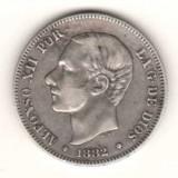 SV  *  Spania 2  PESETAS  1882   Regele Alfonso XII  10  grame  ARGINT     VF(+)