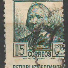TIMBRE 134, SPANIA, 15 CENTIMES, EROARE, DANTELURA DEPLASATA., Stampilat