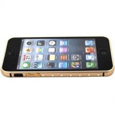 Bumper plastic auriu gold cristale pentru iphone 5 + folie ecran cadou