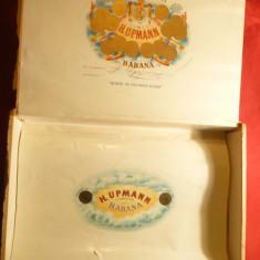Cutie veche din lemn pentru Havane Cuba Hupmann partial rupta eticheta pe fata