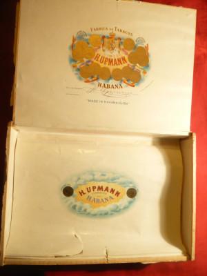 Cutie veche din lemn pentru Havane Cuba Hupmann partial rupta eticheta pe fata foto