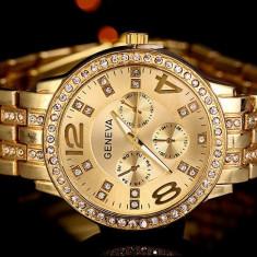 CEAS DAMA GENEVA CALIBER GOLD&DIAMONDS-COLECTIE 2016-SUPERB-CRISTALE-REDUCERE !!, Fashion, Quartz, Placat cu aur, Rezistent la apa