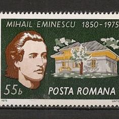 Romania.1975 125 ani nastere M.Eminescu HR.221 - Timbre Romania, Nestampilat