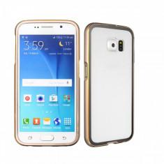 Husa transparenta margine bumper auriu Samsung Galaxy S6  si folie ecran