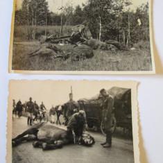 2 FOTO ACCIDENTE TRASURI MILITARE GERMANE ANII 20 - Fotografie veche