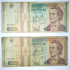 Lot 2 bancnote Romania 1000lei - circulate- 1993 - Bancnota romaneasca