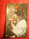 Ilustrata -Felicitare Paste circulat cca 1908, Circulata, Fotografie