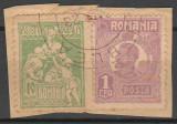 TIMBRE 127, ROMANIA, 1920/25; FERDINAND, 1 LEU, EROARE CADRU INTRERUPT, DREAPTA.