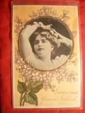 Ilustrata- Felicitare in relief - Medalion Femeie , inc.sec.XX
