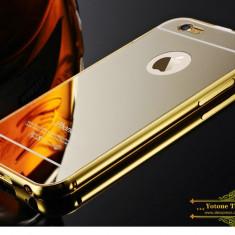 Iphone 6 6S - Bumper Metalic cu Capac Plastic Auriu Oglinda - Bumper Telefon Apple