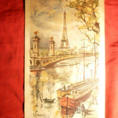 Litografie Paris, Sena, Turn Effel, dim.= 18, 5 x31, 2 cm