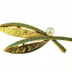 Brosa placata aur, gold plated 18 k, faux pearl, duble, vintage, semnata Sphinx - Brosa placate cu aur