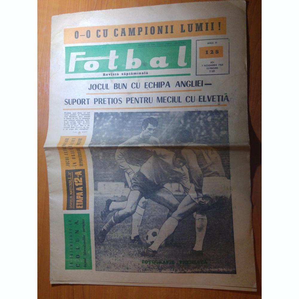 Ziarul Fotbal 7 Noiembrie 1968 Meciul Anglia Romania 0 0egal Cu Camioana Lumii