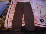 Pantaloni de dama trei sferturi, maro, lina 65%+poliester 35%