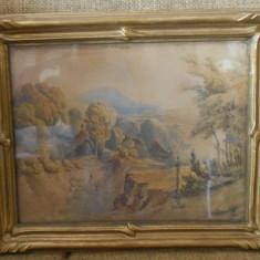TABLOU 1860 PICTURA ACUARELA PEISAJ CHARTRAIN RAMA BLONDEL, Peisaje, Impresionism
