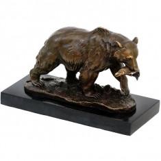 URS-STATUETA DIN BRONZ PE SOCLU DIN MARMURA - Sculptura, Animale