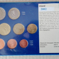 Set monede Euro Irlanda, toate din 2002, Europa
