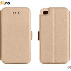 Husa SONY XPERIA M4 Aqua Flip Case Inchidere Magnetica Gold - Husa Telefon Sony, Auriu, Piele Ecologica, Cu clapeta, Toc