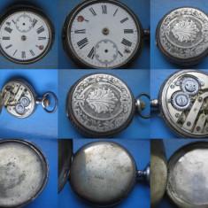 Ceas buzunar cadran roman lovit, carcasa spate argint gravat nefunctional. - Ceas de buzunar vechi