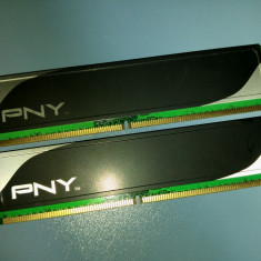Kit 2Gb DDR2 Desktop, 1GBx2, Brand PNY, 800Mhz, CL6, Radiator, import Germania(G) - Memorie RAM PNY, Dual channel