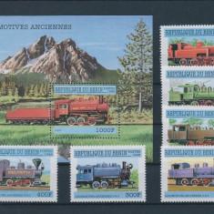Benin 1998 locomotive - serie si colita nestampilate MNH - Timbre straine