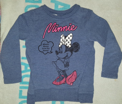 Bluza fete 4-5 ani, de la Disney, cu Minnie Mouse, 100% bumbac, indigo, ca noua foto