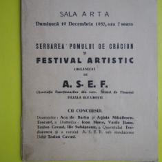 HOPCT PROGRAM SALA ARTA 19 DEC 1937 SERBAREA POMULUI DE CRACIUN ASEF BUCURESTI - Afis