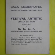 HOPCT PROGRAM SALA LIEDERTAFEL 12 DEC 1937 FESTIVAL ARTISTIC ORGANIZAT ASEF - Afis