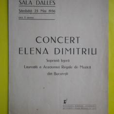 HOPCT PROGRAM SALA DALLES 23 MAI 1936 CONCERT SOPRANA LEJERA ELENA DIMITRIU - Afis