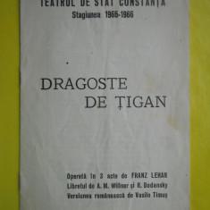 HOPCT PROGRAM TEATRUL DE STAT CONSTANTA1965-1966 DRAGOSTE DE TIGAN/OPERETA LEHAR - Afis