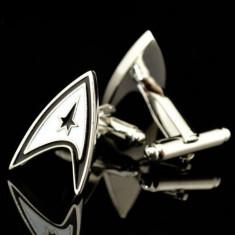 Butoni SUPER EROU STAR TREK argintii metal + cutie simpla cadou, Inox