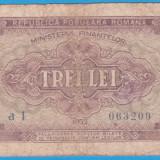 (1) BANCNOTA ROMANIA - 3 LEI 1952 - R.P.R. - SERIE DIN 1 CIFRA - MAI RARA - Bancnota romaneasca