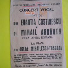 HOPCT PROGRAM AFIS ATENEUL ROMAN 26 FEB 1940 CONCERT VOCAL EVANTIA COSTINESCU