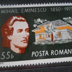 1975 LP 880 125 DE ANI DE LA NASTEREA LUI MIHAIL EMINESCU - Timbre Romania, Nestampilat