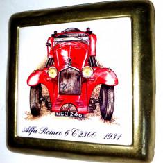 Placheta ceramica incadrata in rama de alama - Alfa Romeo 6 C2300 - 1931