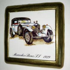 Placheta ceramica incadrata in rama de alama  - Mercedes Benz SS 1929