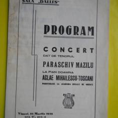 HOPCT PROGRAM SALA DALLES 25 MAR 1938 CONCERT TENOR PARASCHIV MAZILU/AGLAIE TOSC - Afis