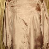 Camasa, bluza retro, satin subtire caramiziu arama - Bluza dama, Marime: 40, Maneca lunga, Universala, Camel, Poliester