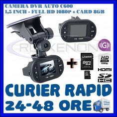 CARD 8GB + CAMERA VIDEO DVR AUTO MARTOR ACCIDENT C600, FULL HD 1080p, SENZOR G - Camera video auto ZDM, 32GB, Wide, Single, Senzor imagine MP CMOS: 12