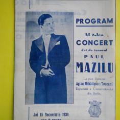 HOPCT PROGRAM SALA DALLES 15 DEC 1938 CONCERT TENORUL PAUL MAZILU /AGLAE TOSCANI - Afis