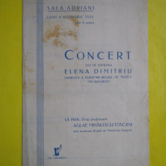 HOPCT PROGRAM SALA ADRIANI 4 NOV 1935 BUCURESTI-CONCERT SOPRANA ELENA DIMITRIU - Afis