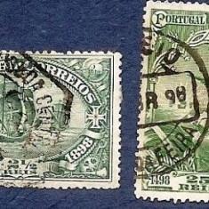 1898 PORTUGALIA Vasco da Gama 2 timbre circulate, Regi, Stampilat