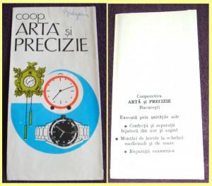 Lot 25 plicuri reclama Cooperativa ARTA SI PRECIZIE, reparatii ceasuri comunism